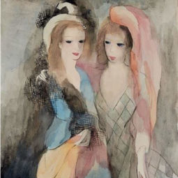 LAURENCIN-jeunes-femmes-à-la-mantille-et-au-voile-rose_44.7x36cm - LAURENCIN MARIE - Galeries Bartoux