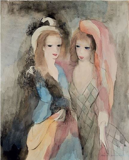 Jeunes femmes à la mantille et au voile rose - LAURENCIN MARIE - Galeries Bartoux