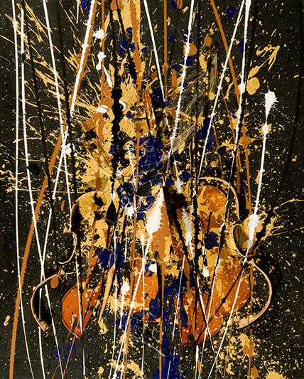 Instrument de musique et traces de couleurs or - ARMAN - Galeries Bartoux