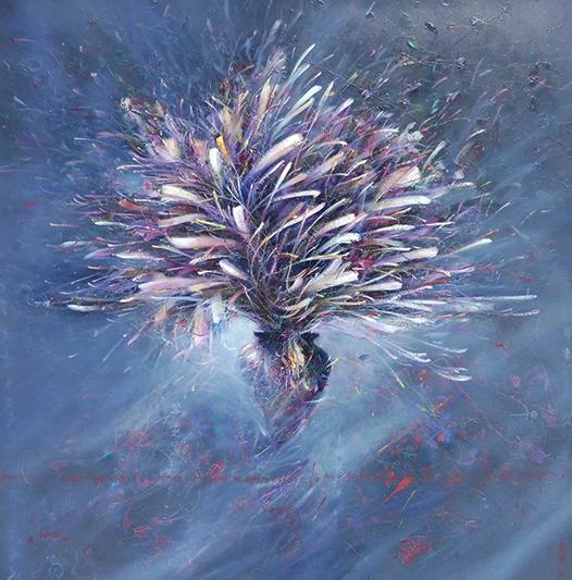 Bouquet blanc et violet - D'IZARNY FRANCOIS - Galeries Bartoux