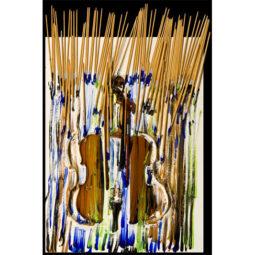 Pinceaux et trainées de peintures sur violon - ARMAN - Galeries Bartoux